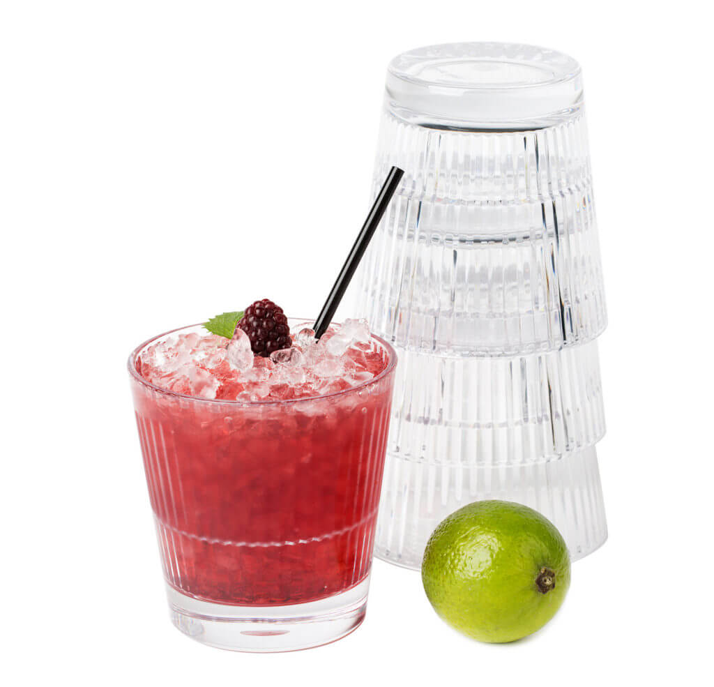 Stripe 355 Rocks, 35cl - strawberry daiquiri and lime and stacked, stackable premium unbreakable polycarbonate glasses from Barcompagniet.