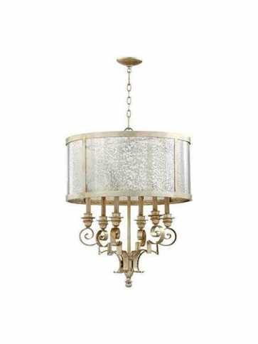 quorum lighting champlain series 6081-6-60 aged silver leaf chandelier