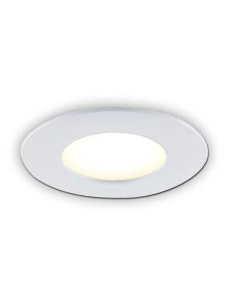 Energy Efficient 4-in White Damp Location Bazz SLMRD4W Slim Round Integrated LED Recessed Light Fixture Kit Dimmable