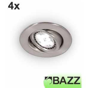Bazz FLEX3 Series Low-Profile 7W LED Recessed Light Brushed Chrome Trim (4-pack) 313LP7B4