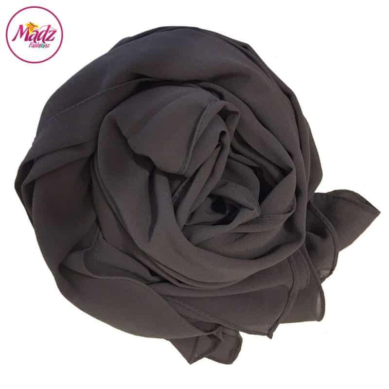 Long Plain Chiffon Grey Muslim Hijabs Scarves Shawls
