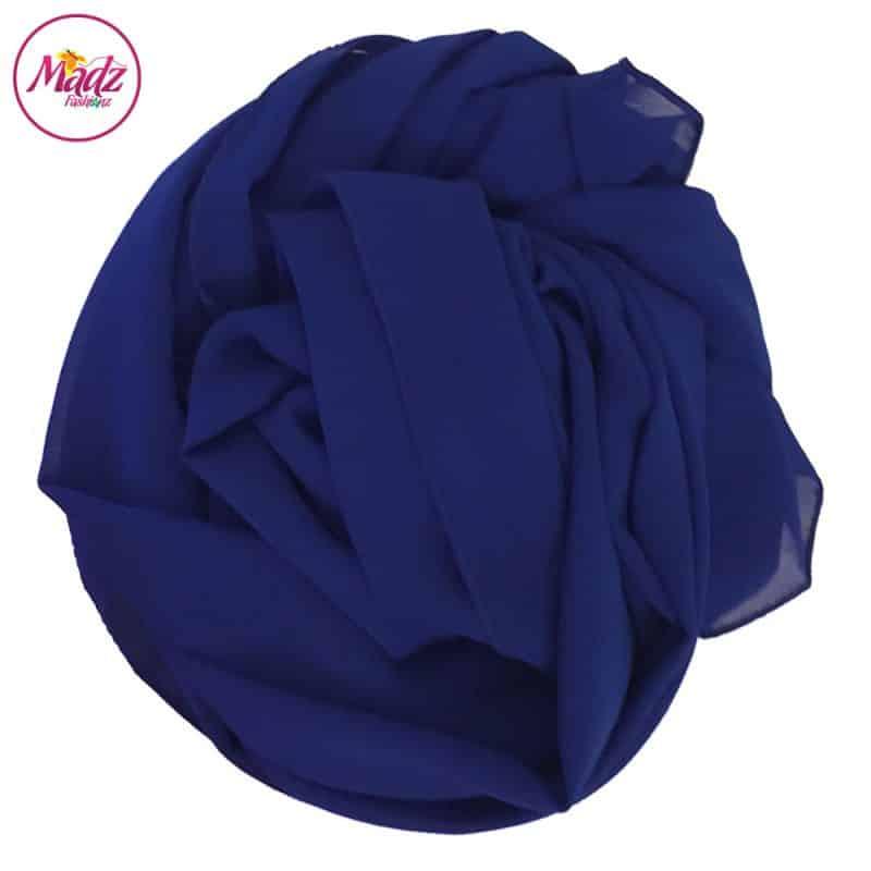 Long Plain Chiffon Royal Blue Muslim Hijabs Scarves Shawls
