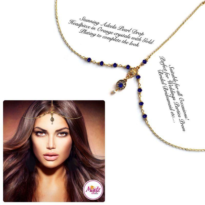 Madz Fashionz UK: Adeela Pearl Drop Gold Headpiece Matha Patti Tikka Antique Gold Royal Blue