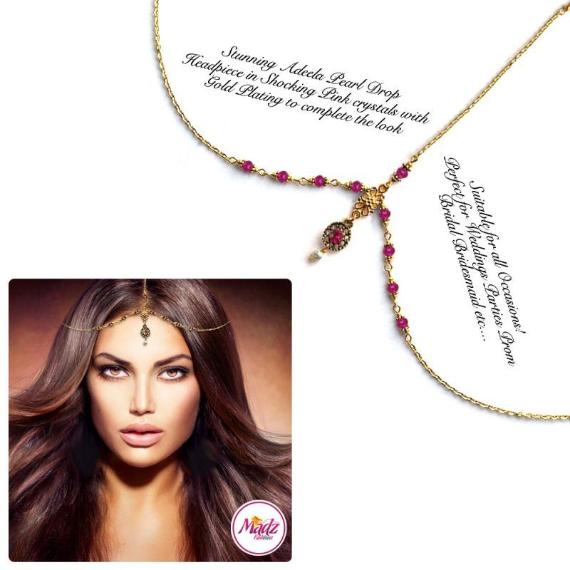 Madz Fashionz UK: Adeela Pearl Drop Gold Headpiece Matha Patti Tikka Antique Gold Shocking Pink