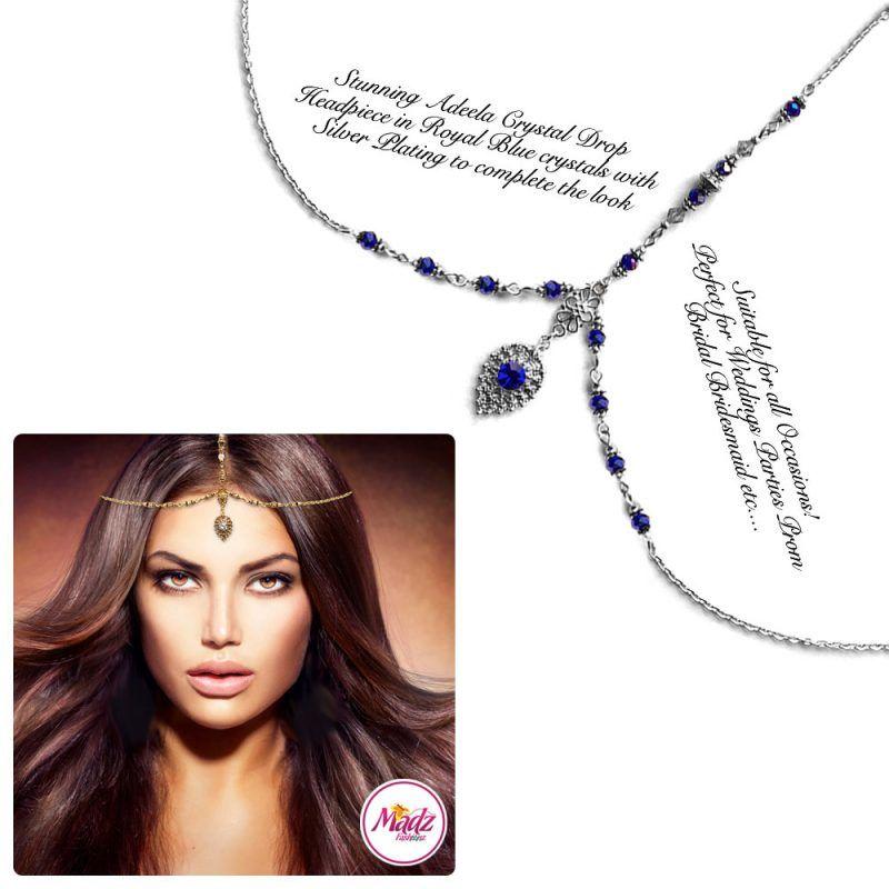 Madz Fashionz UK: Adeela Crystal Drop Headpiece Matha Patti Silver Royal Blue