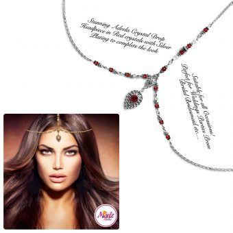 Madz Fashionz UK: Adeela Crystal Drop Headpiece Matha Patti Silver Red