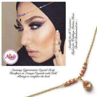 Madz Fashionz UK: Gold Maang Tikka Matha Patti Hair Chain Headpiece Gold Orange