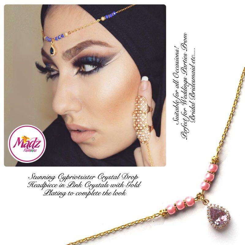 Madz Fashionz UK: Gold Maang Tikka Matha Patti Hair Chain Headpiece Gold Pink