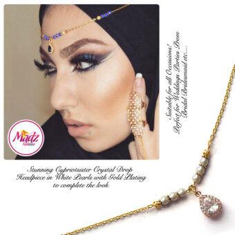 Madz Fashionz UK: Gold Maang Tikka Matha Patti Hair Chain Headpiece Gold White