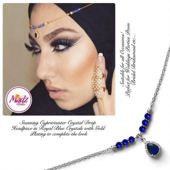 Madz Fashionz UK: Gold Maang Tikka Matha Patti Hair Chain Headpiece Silver Royal Blue