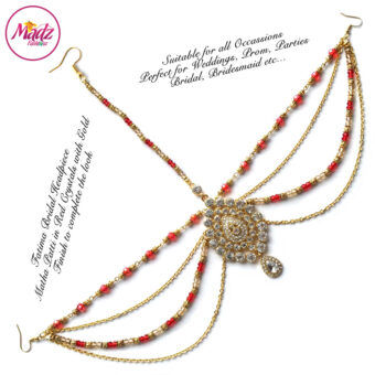 Madz Fashionz UK: Fatima Traditional Red Bridal Chandelier Matha Patti