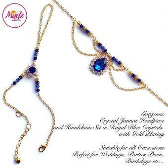 Madz Fashionz UK: Jannat Delicate Royal Blue Crystal Headpiece Handchain Set