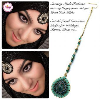 Madz Fashionz UK: Maang Tikka Matha Patti Head Piece Hair Chain Gold Green