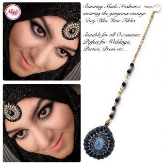 Madz Fashionz UK: Maang Tikka Matha Patti Head Piece Hair Chain Gold Navy Blue