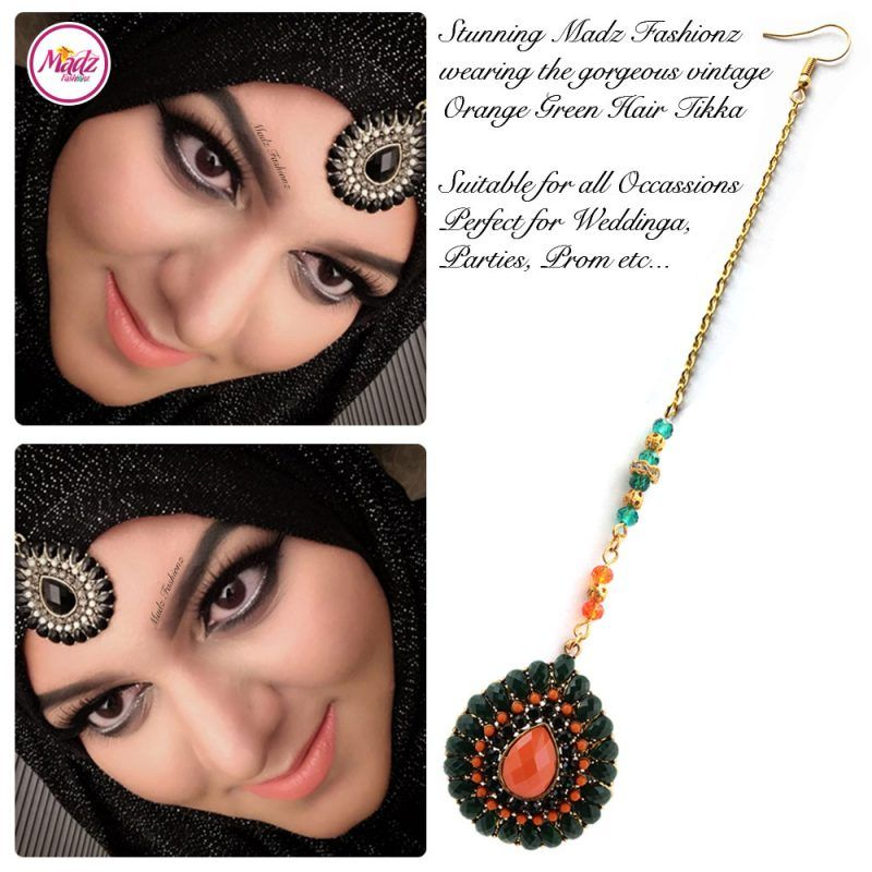 Madz Fashionz UK: Maang Tikka Matha Patti Head Piece Hair Chain Gold Orange