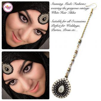 Madz Fashionz UK: Maang Tikka Matha Patti Head Piece Hair Chain Gold White