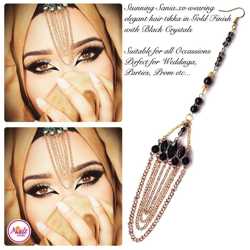 Madz Fashionz UK: Sania.XO Crystalised Maang Tikka Gold Black