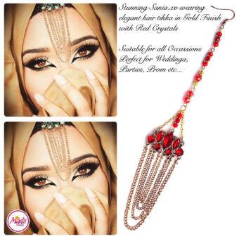 Madz Fashionz UK: Sania.XO Crystalised Maang Tikka Gold Red