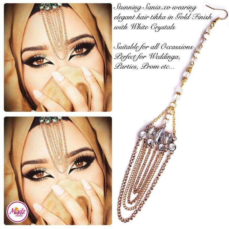 Madz Fashionz UK: Sania.XO Crystalised Maang Tikka Gold White