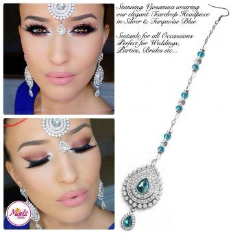 Madz Fashionz UK: Vjosamua Bridal Chandelier Headpiece Maang Tikka Silver Turquoise Blue