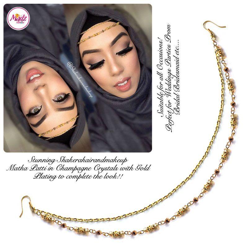 Madz Fashionz UK: Shakerahairandmakeup Matha Patti Headpiece Hijab Jewels Gold and Champagne Nutral Crystals