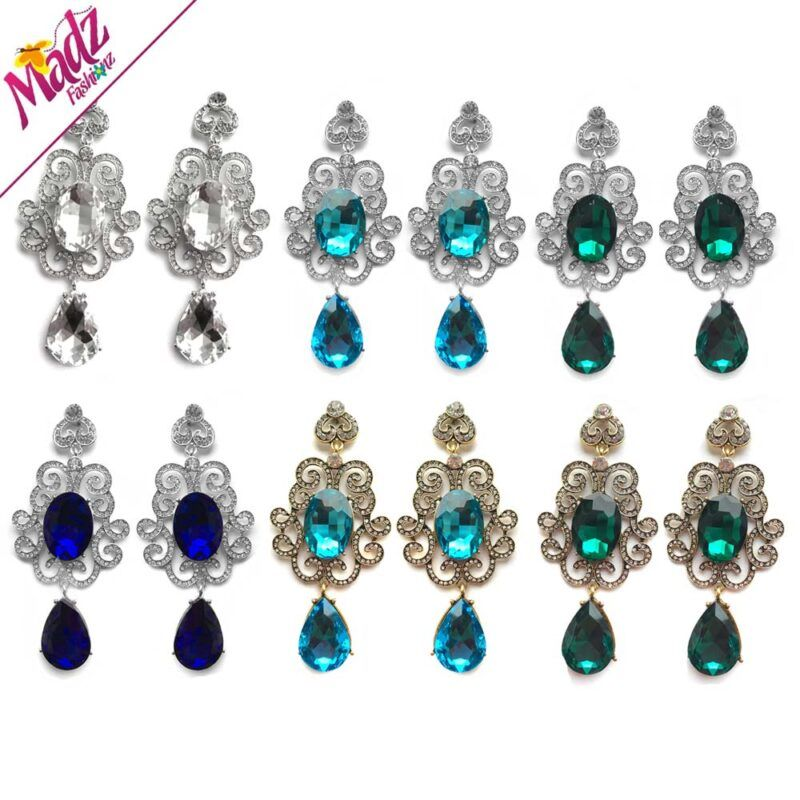 Floral Dangle Long Bridal Chandelier Earrings Gold Silver White Blue Green Customised Asian, Ethnic Indian Jewellery. Including bridal engagement necklaces, earrings, rings hair pieces.