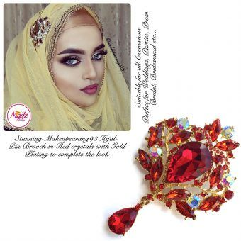 Madz Fashionz UK: Makeupsarang93 Elegant Brooch Hijab Pin Gold Red