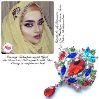Madz Fashionz UK: Makeupsarang93 Elegant Brooch Hijab Pin Silver Multicolour