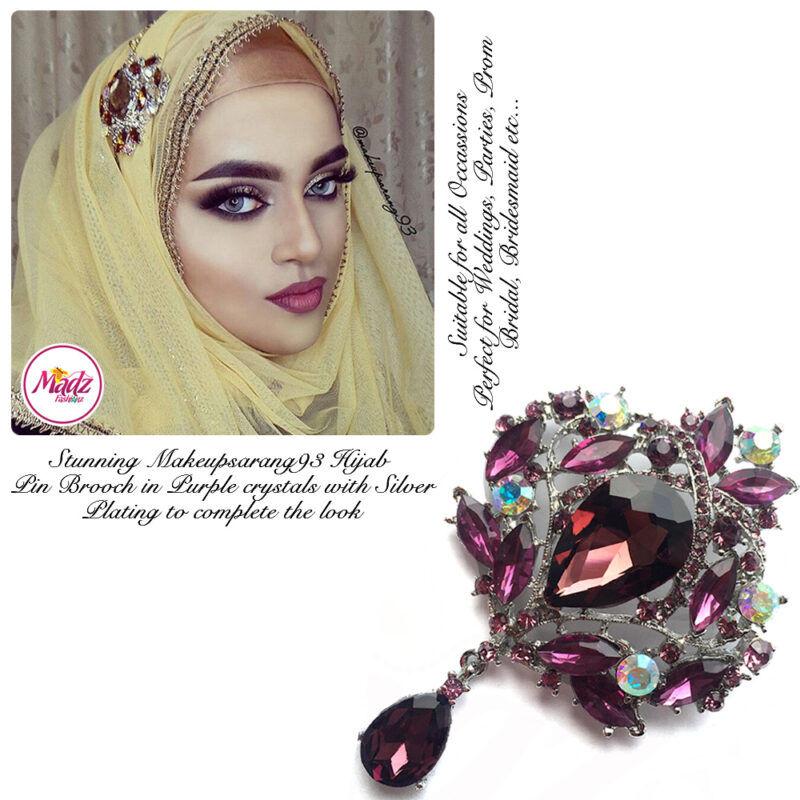 Madz Fashionz UK: Makeupsarang93 Elegant Brooch Hijab Pin Silver Purple