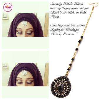 Madz Fashionz UK: Habibi_henna Vintage Drop Hair Tikka Gold Black