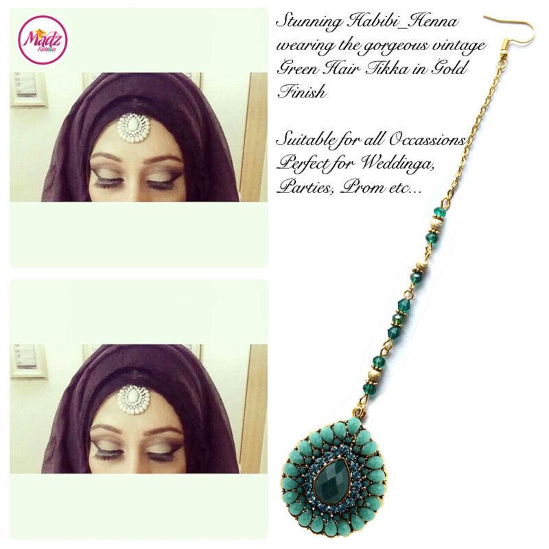 Madz Fashionz UK: Habibi_henna Vintage Drop Hair Tikka Gold Green