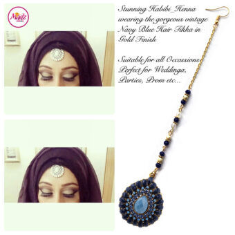 Madz Fashionz UK: Habibi_henna Vintage Drop Hair Tikka Gold Navy Blue