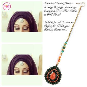 Madz Fashionz UK: Habibi_henna Vintage Drop Hair Tikka Gold Orange Green