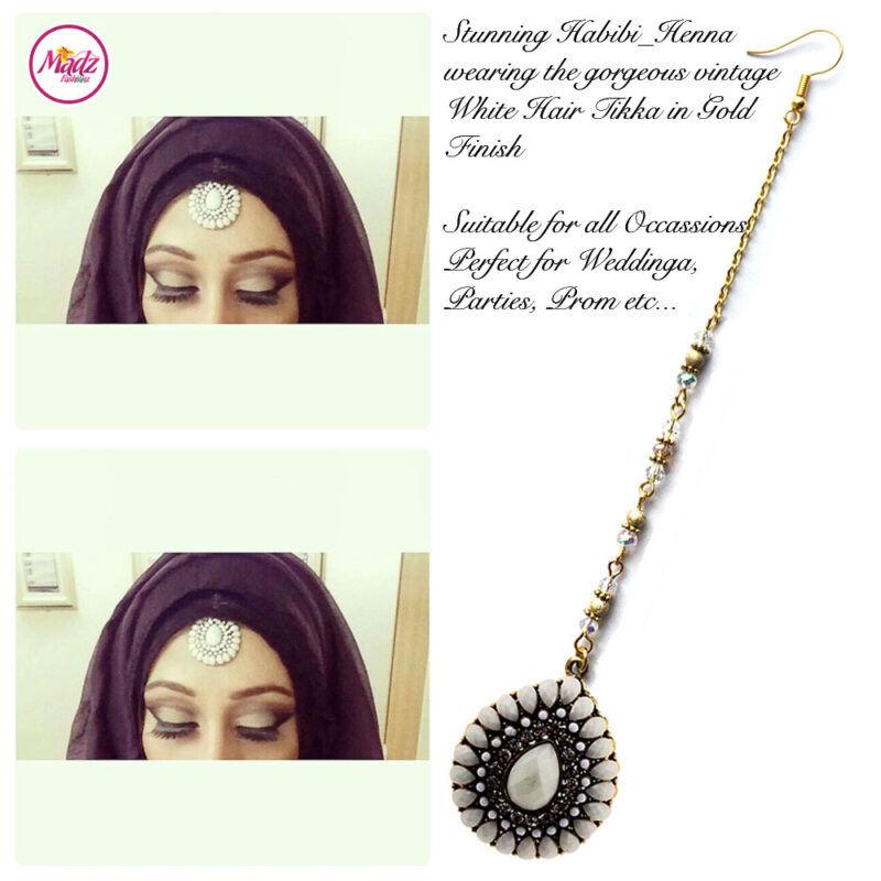 Madz Fashionz UK: Habibi_henna Vintage Drop Hair Tikka Gold White
