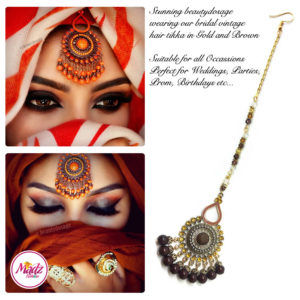 Madz Fashinz UK: Beautydosage Vintage Bridal Maang Tikka Gold Brown Champagne 2