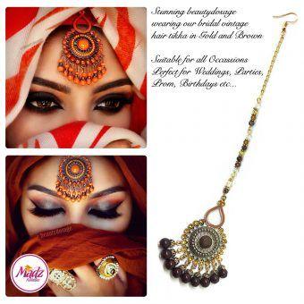 Madz Fashinz UK: Beautydosage Vintage Bridal Maang Tikka Gold Brown Champagne 2