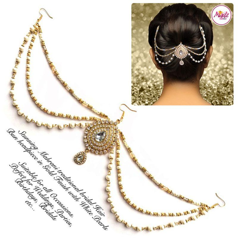 Madz Fashionz UK: Mehrani Bridal Hair Bun Headpiece Jodha Gold Juda