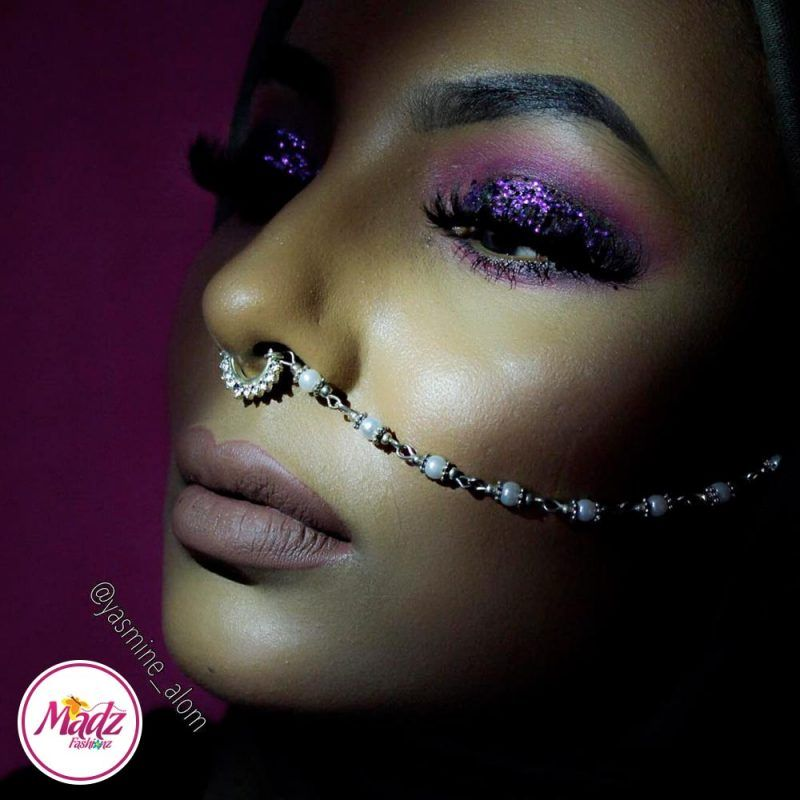 Madz Fashionz UK: Yasmine Alom Pearl Nose Ring Nath Indian Bullaku Nathu Silver White