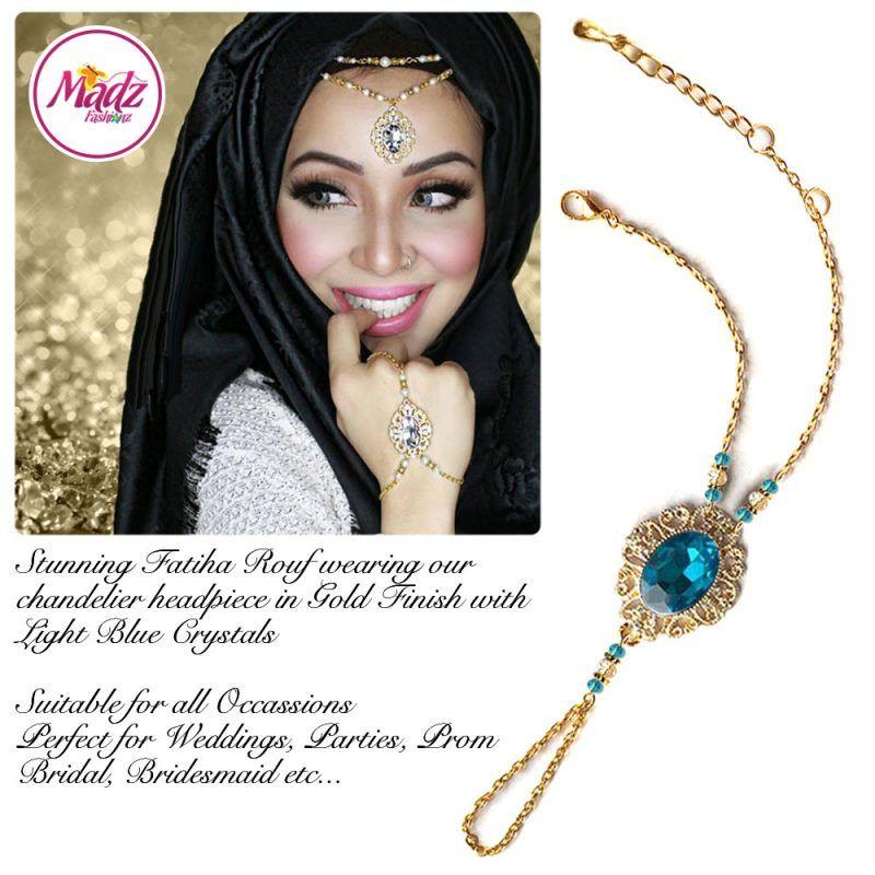 Madz Fashionz UK Fatiha World Chandelier Handpiece Slave Bracelet Gold and Light Blue