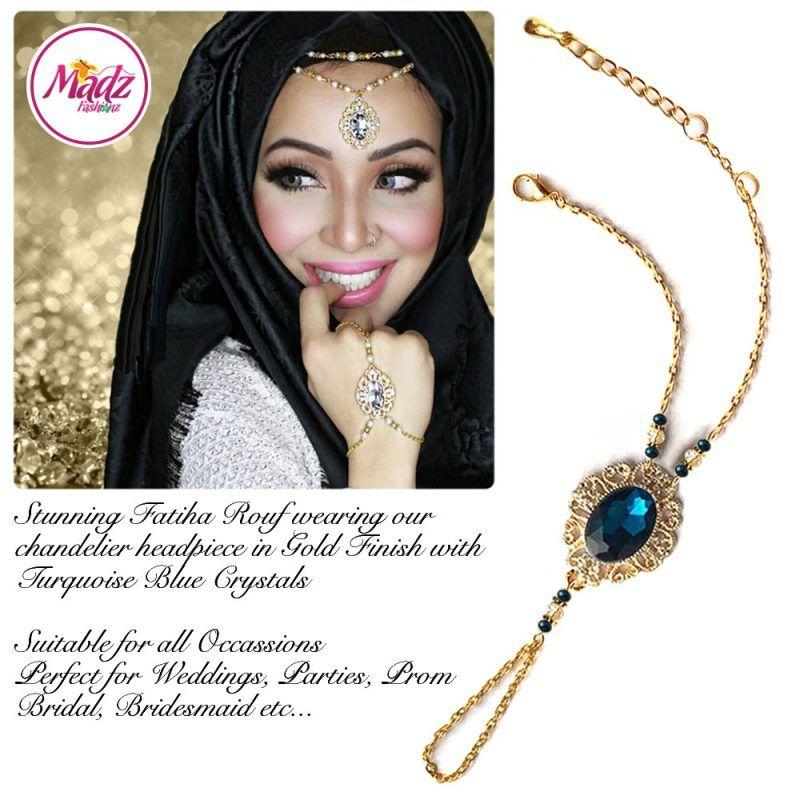 Madz Fashionz UK Fatiha World Chandelier Handpiece Slave Bracelet Gold and Turquoise Blue