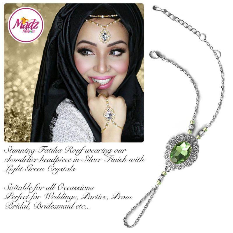 Madz Fashionz UK Fatiha World Chandelier Handpiece Slave Bracelet Silver and Light Green