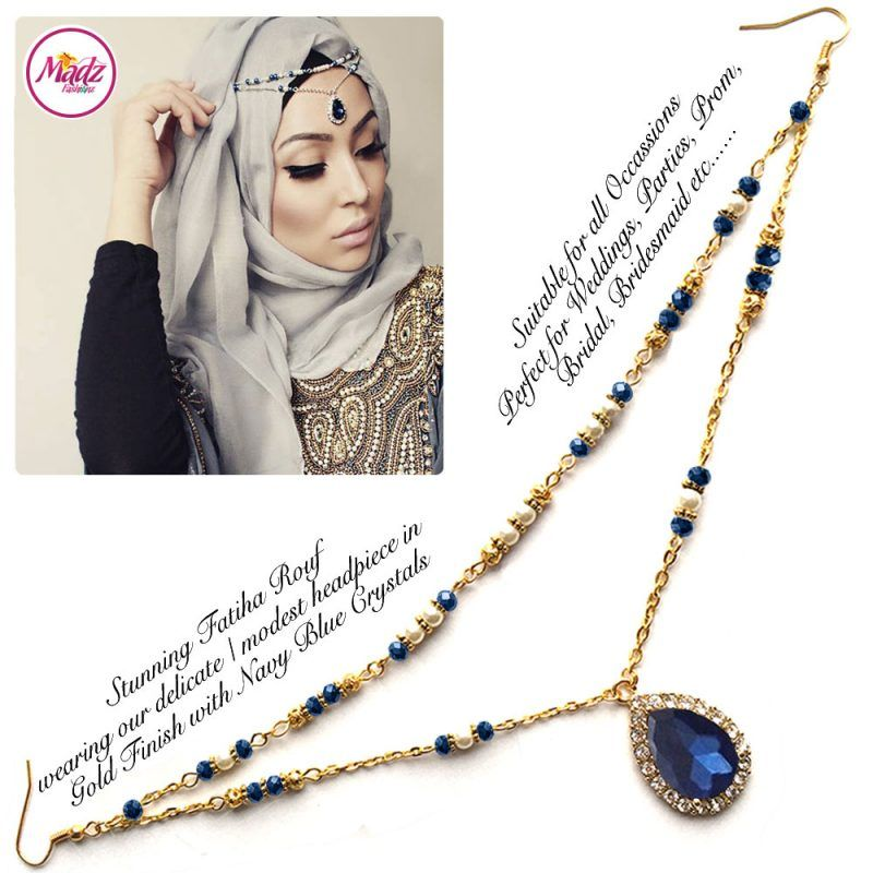 Madz Fashionz UK - Fatiha World Tear Drop Headpiece Gold and Navy Blue