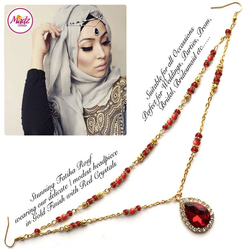 Madz Fashionz UK - Fatiha World Tear Drop Headpiece Gold and Red