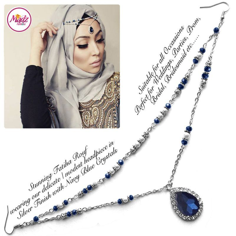 Madz Fashionz UK - Fatiha World Tear Drop Headpiece Silver and Navy Blue
