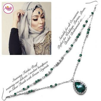 Madz Fashionz UK - Fatiha World Tear Drop Headpiece Silver and Green