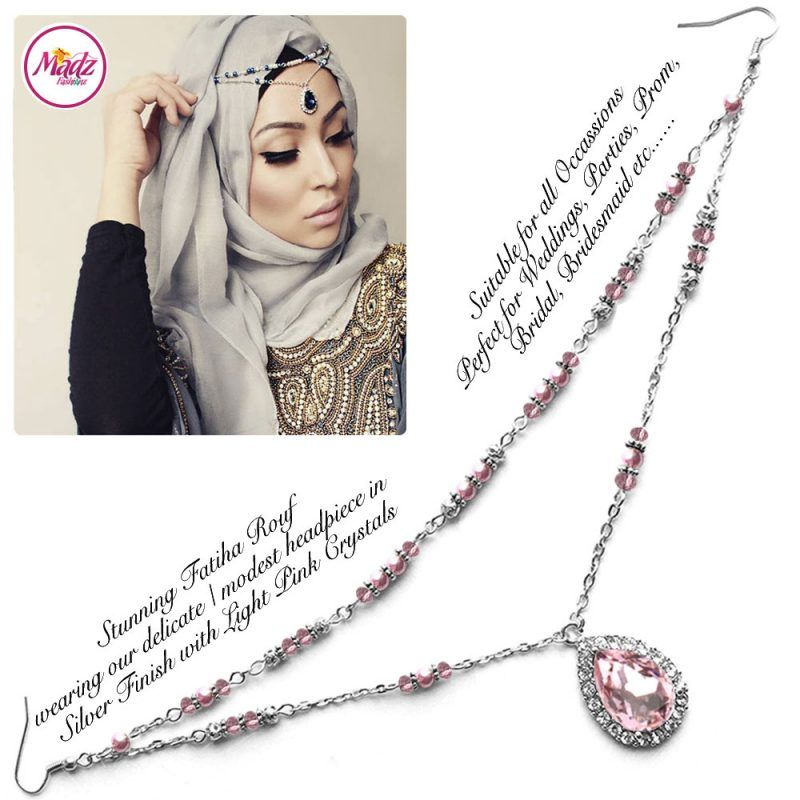 Madz Fashionz UK - Fatiha World Tear Drop Headpiece Silver and Light Pink