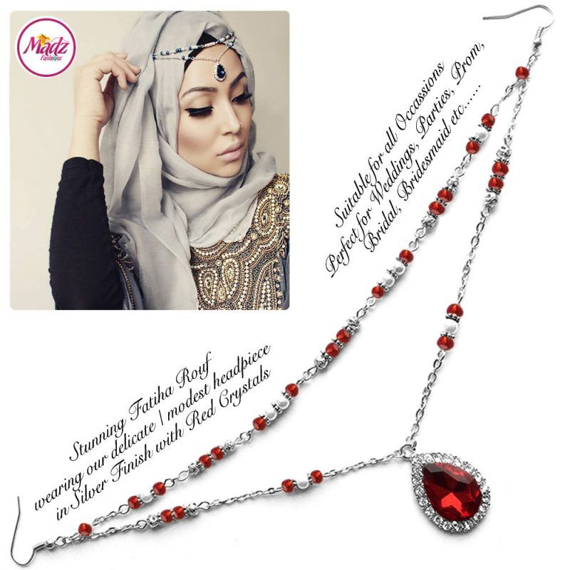 Madz Fashionz UK - Fatiha World Tear Drop Headpiece Silver and Red