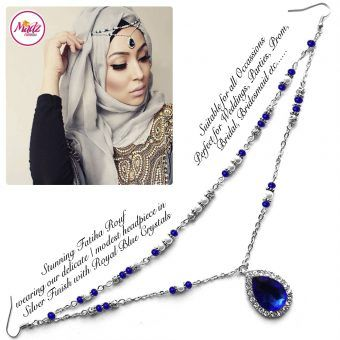Madz Fashionz UK - Fatiha World Tear Drop Headpiece Silver and Royal Blue