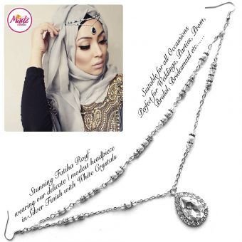 Madz Fashionz UK - Fatiha World Tear Drop Headpiece Silver and White