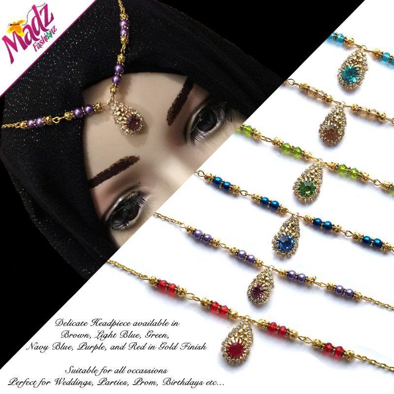 Gold Crystal Drop Delicate Headpiece Indian crystal Matha Patti headwear bridesmaid Tikka Head Chain hair Jewelry hijabpin Bridal jhumer Prom jewelry